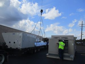 ClearWater team installing a commercial HVAC unit on a roof.